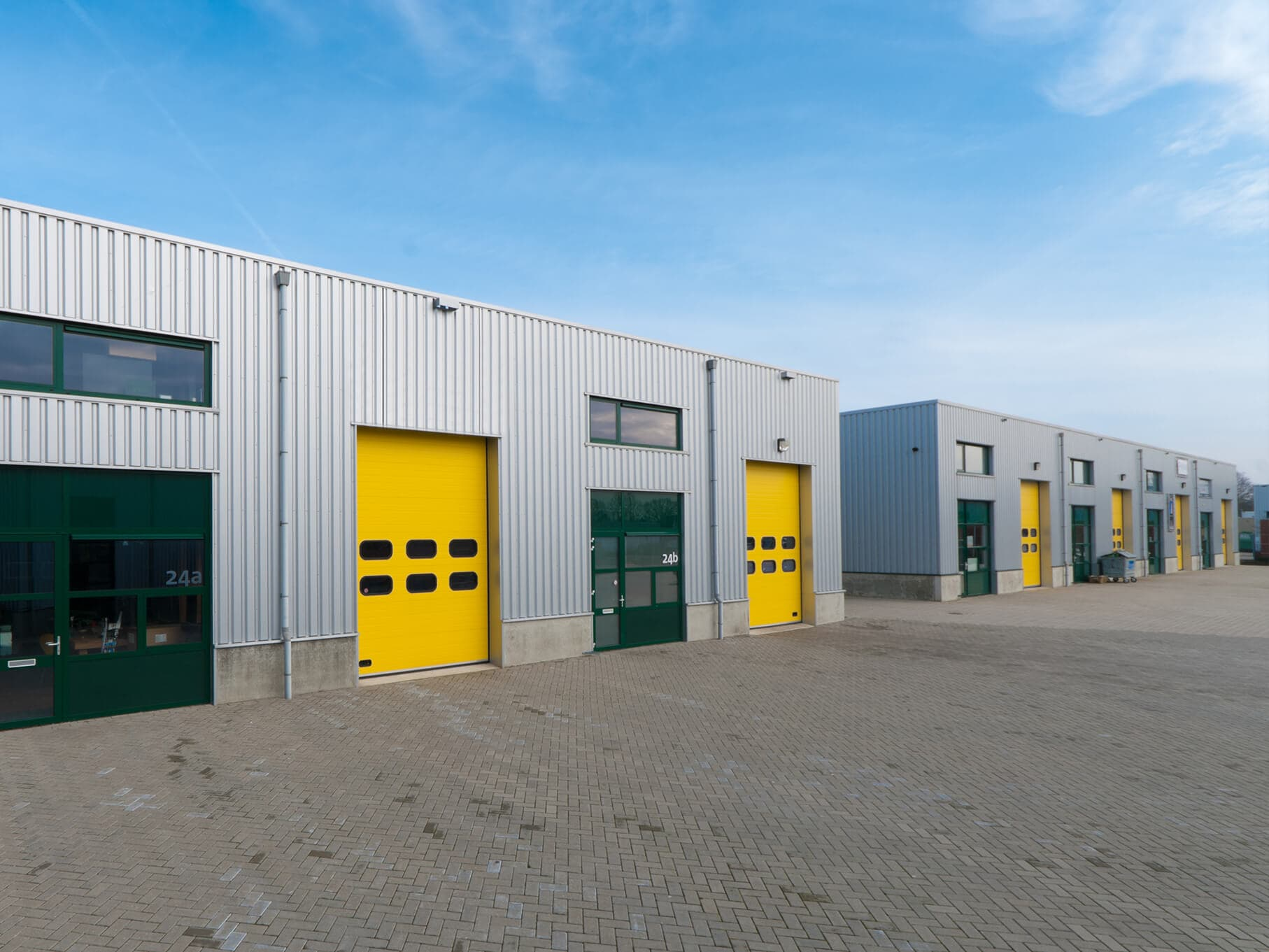 Commercial units with roller shutters